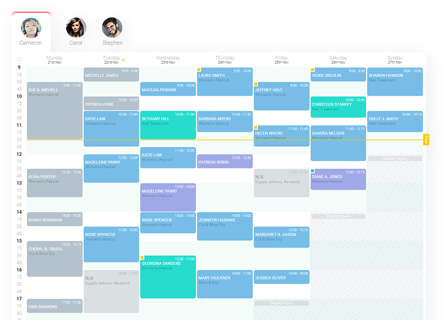 Planfy business calendar showing bookings and appointments for a current week.