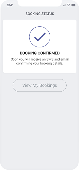 Planfy booking status message indicating that booking has been successfully confirmed.