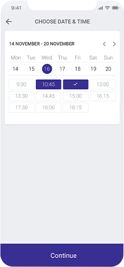 Planfy date and time picker showing user the available slots for the appointment.