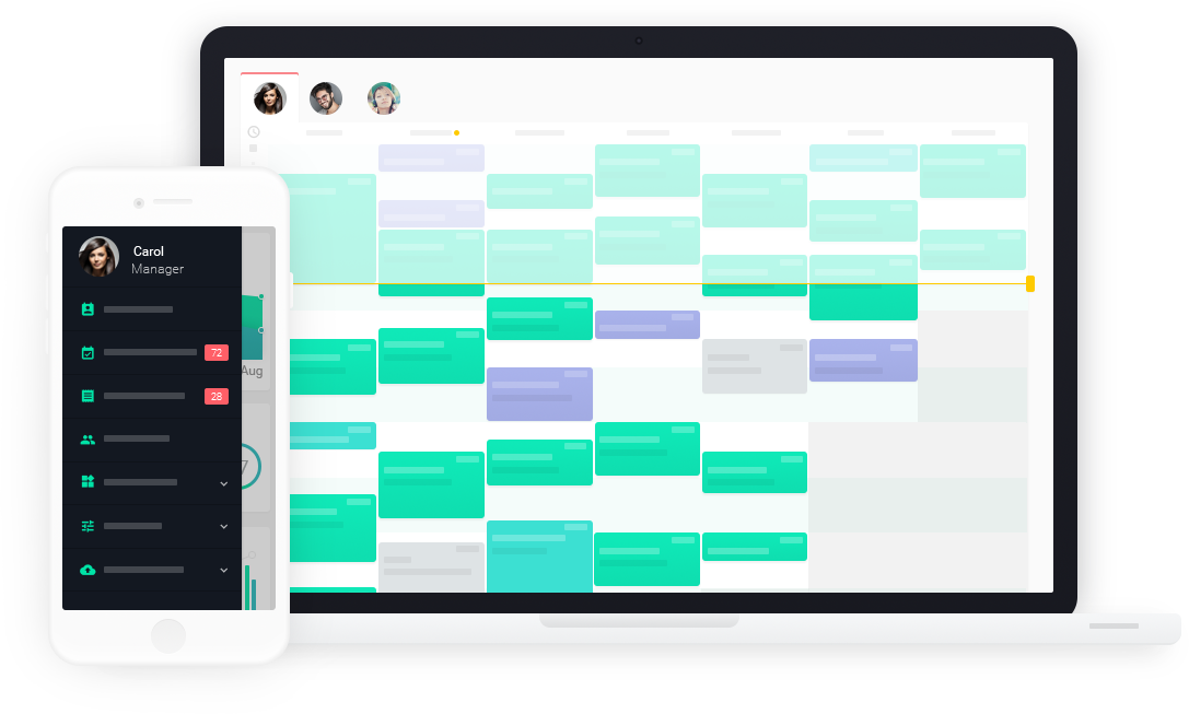 Hair salon appointment scheduling and staff management is easy when using Planfy booking system. It's a truly cross-platform solution that works on computers and mobile phones.
